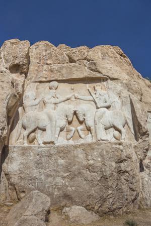 Iran, Shiraz, Naqsh-E Rostam, Sassanian Stone Reliefs Cut Into Mountain by Walter Bibikow