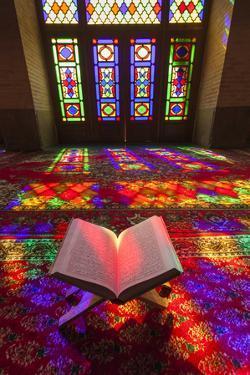 Iran, Shiraz, Nasir-Al Molk Mosque, Holy Quran by Walter Bibikow