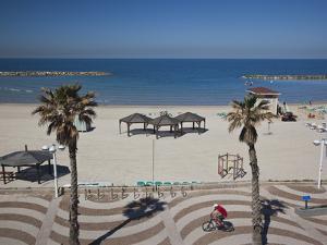 Israel, Tel Aviv Beach Walkway by Walter Bibikow