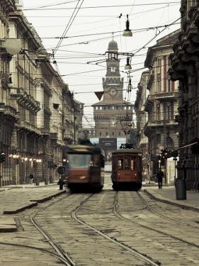 Italy, Lombardy, Milan, Milan Trams on Via Orefici with Castello Sforzesco, Dawn by Walter Bibikow