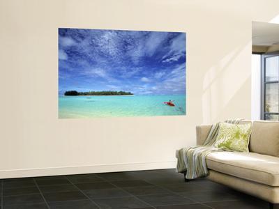 Kayaker, Muri Beach, Rarotonga, Cook Islands by Walter Bibikow