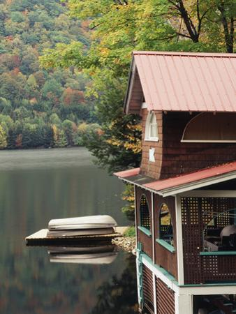 Lakefront House in Autumn, Plymouth Union, Vermont, USA by Walter Bibikow