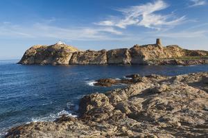 Lighthouse and Tower, Ile De La Pietra, Ile Rousse, Corsica, France by Walter Bibikow