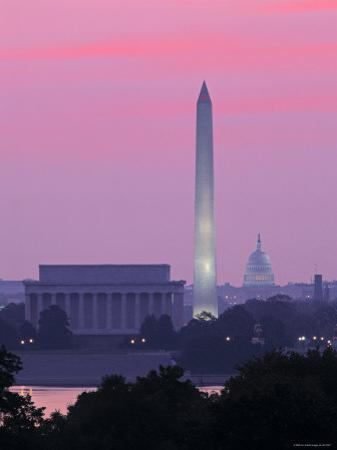 Lincoln and Washington Memorials and Capitol, Washington D.C. Usa by Walter Bibikow