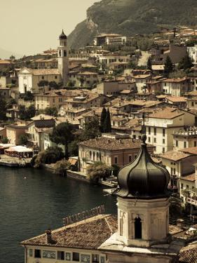 Lombardy, Lake District, Lake Garda, Limone Sul Garda, Town View with San Benedetto Church, Italy by Walter Bibikow