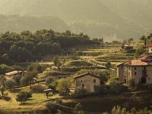 Lombardy, Lake District, Lake Garda, Tremosine Plateau, Mountain Landscape by Cadignano, Italy by Walter Bibikow