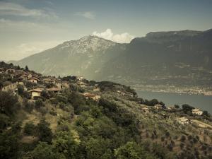 Lombardy, Lake District, Lake Garda, Tremosine Plateau, Pieve, High Lakeside Landscape, Italy by Walter Bibikow