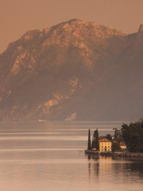 Lombardy, Lakes Region, Lake Como-Lake Lecco, Oliveto, Villa and Mountains, Italy by Walter Bibikow