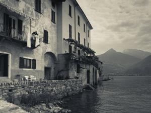 Lombardy, Lakes Region, Lake Como, Santa Maria Rezzonico, Lakeside Houses, Italy by Walter Bibikow