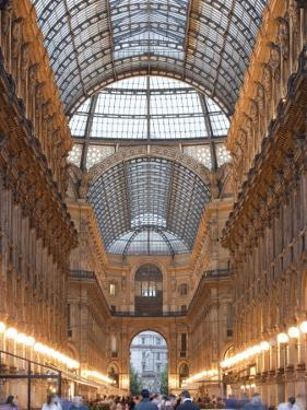 Lombardy, Milan, Galleria Vittorio Emanuele Ii, Shopping Arcade, Interior, Evening, Italy by Walter Bibikow