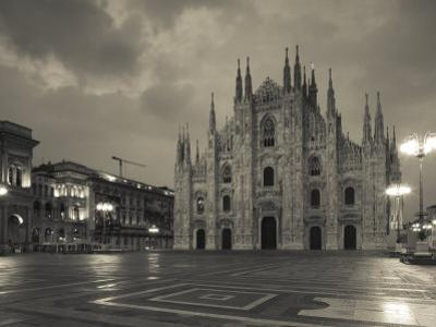 Lombardy, Milan, Piazza Del Duomo, Duomo, Cathedral, Dawn, Italy by Walter Bibikow
