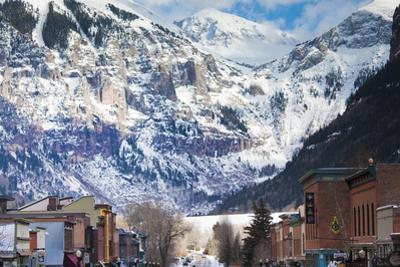 Main Street and Ajax Peak, Telluride, Colorado, USA by Walter Bibikow