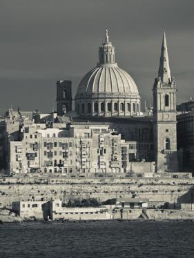 Malta, Valletta, Skyline with St; Paul's Anglican Cathedral and Carmelite Church from Sliema by Walter Bibikow