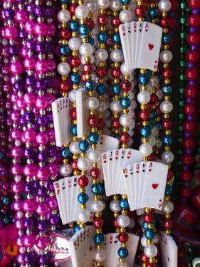 Mardi Gras Beads, French Quarter, New Orleans, Louisiana, USA by Walter Bibikow