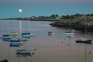 Massachusetts, Cape Ann, Rockport, Rockport Harbor, Moonrise by Walter Bibikow