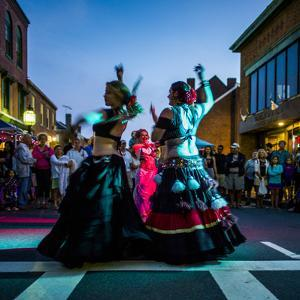Massachusetts, Gloucester Downtown Block Party, Belly Dancers by Walter Bibikow