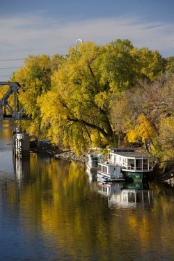 Mississippi River Houseboats, Autumn, Minneapolis, Minnesota, USA by Walter Bibikow