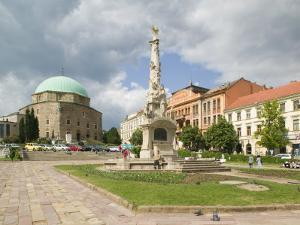 Mosque and Trinity Column in Szechenyi ter Square, Pecs, Hungary by Walter Bibikow