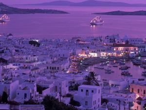 Mykonos Town at Night, Mykonos, Greece by Walter Bibikow