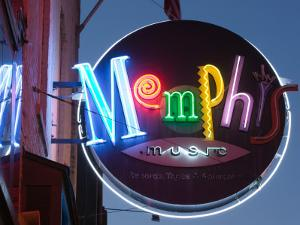 Neon Memphis Sign, Beale Street Entertainment Area, Memphis, Tennessee, USA by Walter Bibikow