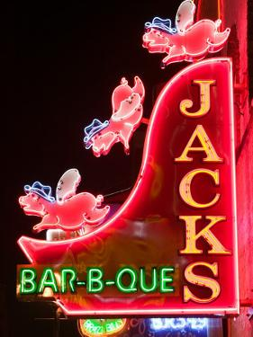 Neon Sign for Jack's BBQ Restaurant, Lower Broadway Area, Nashville, Tennessee, USA by Walter Bibikow