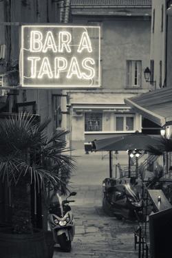 Neon Sign for Tapas Bar, Dusk, Ile Rousse, La Balagne, Corsica, France by Walter Bibikow