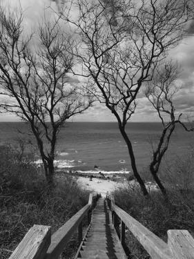 New York, Long Island, Cutchogue, Horton Point Lighthouse Stairs and Long Island Sound, USA by Walter Bibikow