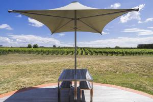 New Zealand, Hawkes Bay, Havelock North. Vineyard table by Walter Bibikow