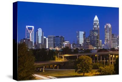 North Carolina, Charlotte, Elevated View of the City Skyline at Dawn