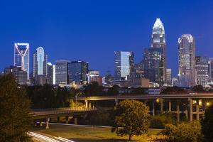 North Carolina, Charlotte, Elevated View of the City Skyline at Dawn by Walter Bibikow