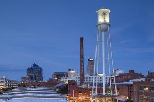 North Carolina, Durham, American Tobacco and City Center Complex, Dusk by Walter Bibikow