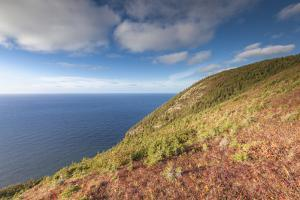 Nova Scotia, Cabot Trail. Cape Breton Highlands NP, elevated view of the Atlantic Ocean by Walter Bibikow