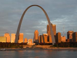 Old Courthouse and Gateway Arch Area along Mississippi River, St. Louis, Missouri, USA by Walter Bibikow