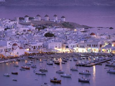 Overview of Mykonos Town harbor, Mykonos, Cyclades Islands, Greece by Walter Bibikow