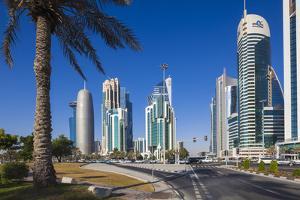 Qatar, Doha, Doha Bay, West Bay Skyscrapers, Morning by Walter Bibikow