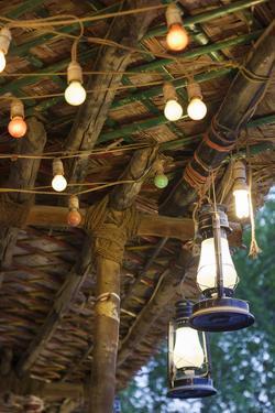 Qatar, Doha, Souq Waqif, Redeveloped Bazaar Area, Cafe Lanterns by Walter Bibikow