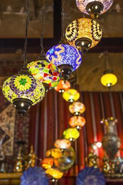 Qatar, Doha, Souq Waqif, Redeveloped Bazaar Area, Traditional Lamps by Walter Bibikow
