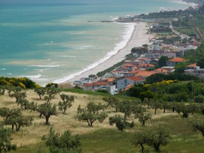 Resort Town and View of Adriatic Sea, Fossacesia Marina, Abruzzo, Italy by Walter Bibikow