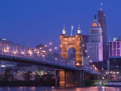 Roebling Suspension Bridge, Ohio River, Cincinnati, Ohio, USA by Walter Bibikow