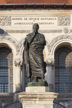 Romania, Black Sea, Constanta, Piata Ovidiu, Ovid Square with Statue by Walter Bibikow