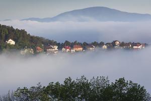 Romania, Transylvania, Brasov, Town Buildings in Fog, Dawn by Walter Bibikow