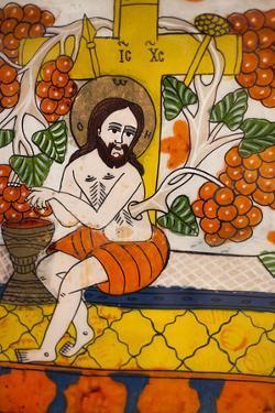 Romania, Transylvania, Sibiel, Glass Icon of Jesus Christ by Walter Bibikow