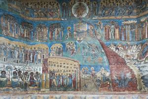 Romania, Voronet, Voronet Monastery, Frescoes Done in Voronet Blue by Walter Bibikow