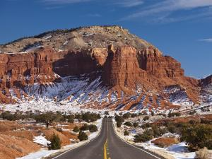Route 24 in Winter, Capitol Reef National Park, Torrey, Utah, USA by Walter Bibikow