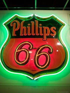 Rt.66 Museum with Phillips 66 Gas Station Sign, St. Louis, Missouri, USA by Walter Bibikow