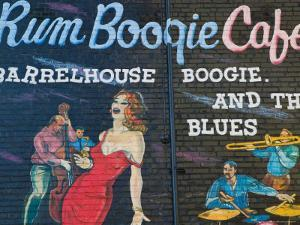 Rum Boogie Cafe, Wall Mural, Beale Street Entertainment Area, Memphis, Tennessee, USA by Walter Bibikow