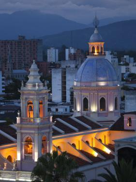 Salta Province, Salta, Plaza 9 De Julio and Cathedral, Aerial, Evening, Argentina by Walter Bibikow