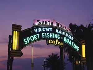 Santa Monica Pier Neon Entrance Sign, Los Angeles, California, USA by Walter Bibikow