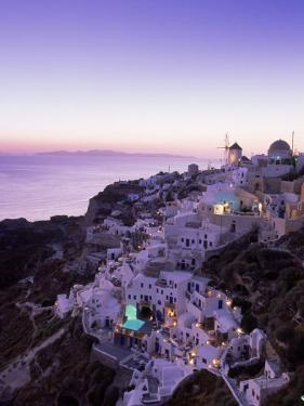 Santorini at Night, Greece by Walter Bibikow