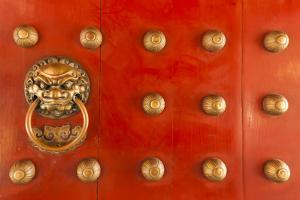 Singapore, Chinatown, Buddha Tooth Relic Temple, Gate Detail by Walter Bibikow